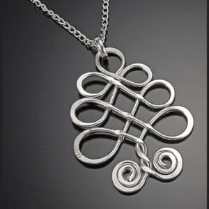 Hammered Silver Scrollwork Necklace